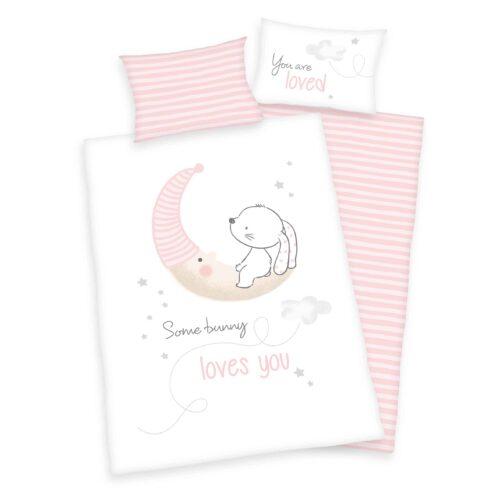 Produktbild Babybettwäsche little bunny rosa weiß Bettwäsche Vorderseite Rückseite