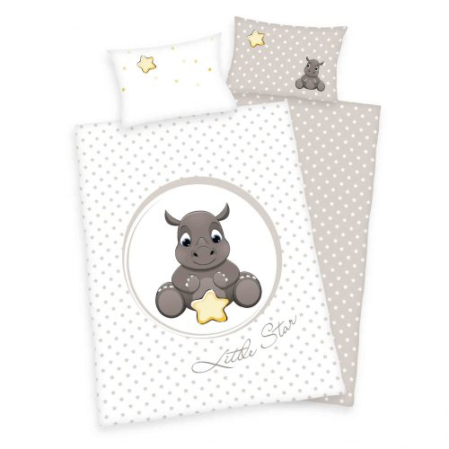 Produktbild Babybettwäsche Stern süßes Nashorn braun weiß Bettwäsche Vorderseite Rückseite