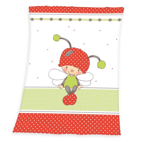 Produktbild Baby Fleece Decke Käferchen weiß rot grün Decke Vorderseite