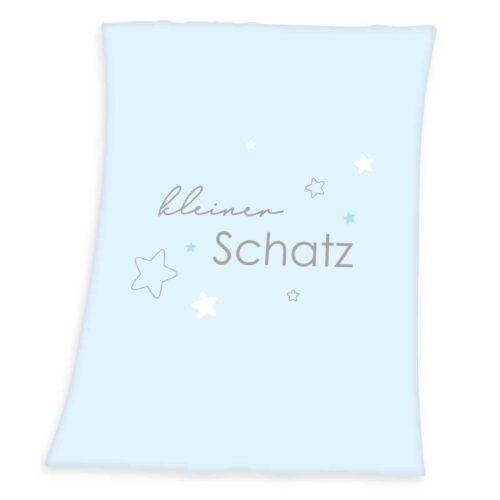 Produktbild Baby Fleece Decke kleiner Schatz weiß blau Decke Vorderseite