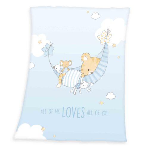 Produktbild Baby Kuscheldecke little tiger weiß blau Decke Vorderseite