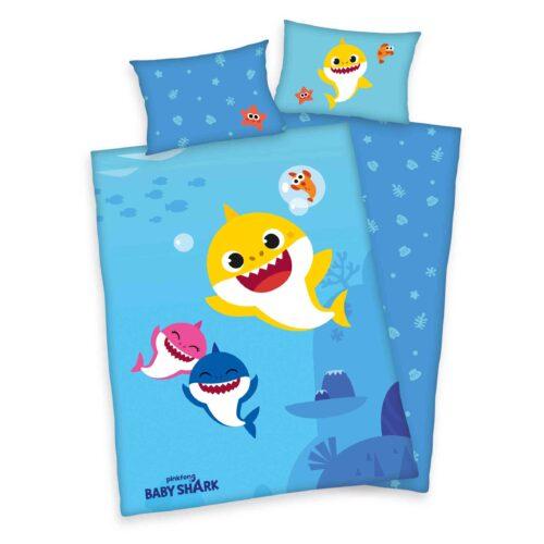 Produktbild Babybettwäsche Baby Shark blau gelb Bettwäsche Vorderseite Rückseite