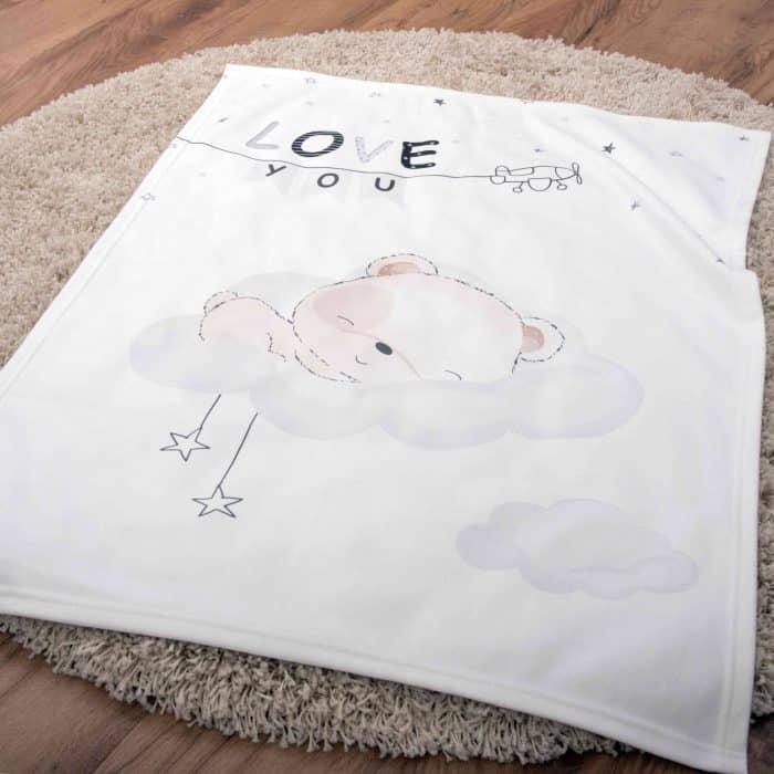 Produktbild Kuscheldecke sleeping little bear weiß ganze Decke