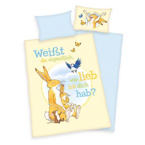 Produktbild Babybettwäsche weißt du eigentlich wie lieb ich dich hab blau gelb Bettwäsche Vorderseite Rückseite