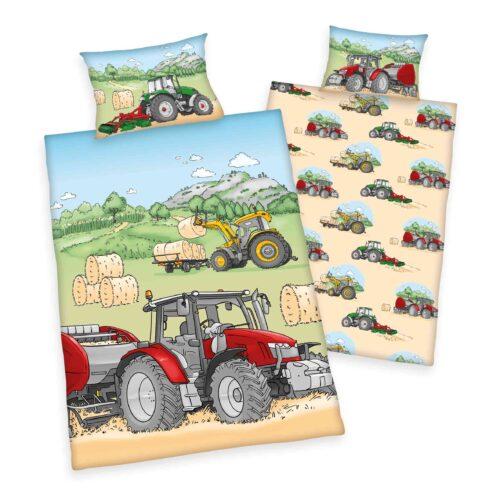 Produktbild Babybettwäsche Traktor Mehrfarbig Bettwäsche Vorderseite Rückseite