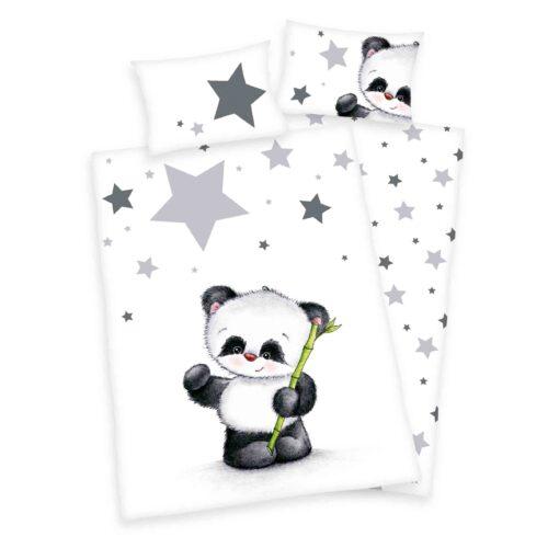 Produktbild Babybettwäsche Sterne Panda grau weiß Bettwäsche Vorderseite Rückseite