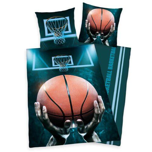 Produktbild Bettwäsche Baskettball dunkelblau Bettwäsche Vorderseite Rückseite
