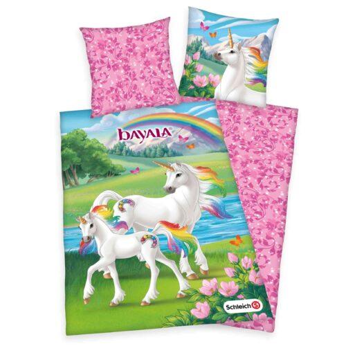 Produktbild Kinderbettwäsche Schleich Bayala pink grün weiß Bettwäsche Vorderseite Rückseite