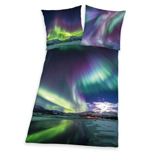Produktbild Bettwäsche Polarlicht blau grün Bettwäsche Vorderseite Rückseite