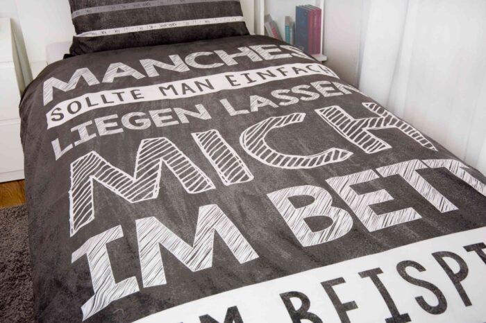 Produktbild Bettwäsche Sprüche liegen lassen grau Decke