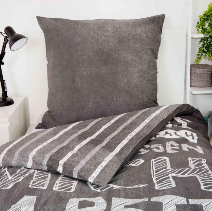 Produktbild Bettwäsche Sprüche liegen lassen grau Kissen