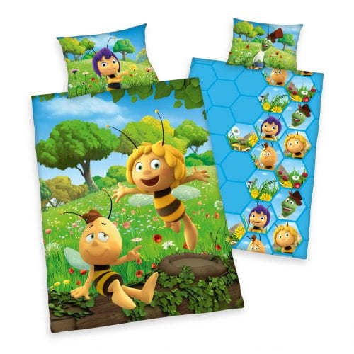 Produktbild Babybettwäsche Biene Maja braun grün Bettwäsche Vorderseite Rückseite