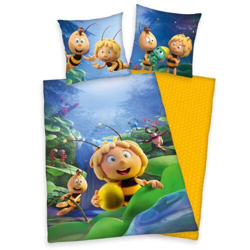 Produktbild Bettwäsche Biene Maja gelb blau grün Bettwäsche Vorderseite Rückseite