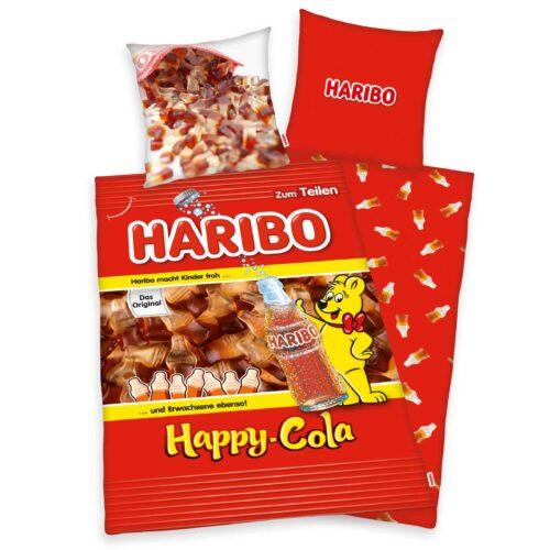 Produktbild Bettwäsche Cola Flasche happy Cola Haribo rot Gold Bettwäsche Vorderseite Rückseite