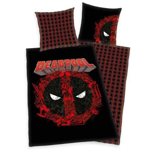 Produktbild Bettwäsche Deadpool schwarz rot Bettwäsche Vorderseite Rückseite