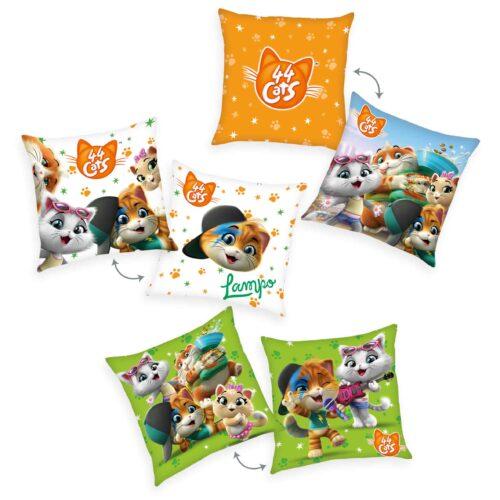 Produktbild Deko Kissen 3er-set 44 cats Mehrfarbig Kissen Vorderseite Rückseite
