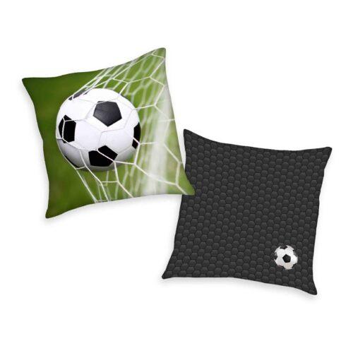 Produktbild Deko Kissen Fußball schwarz grün Kissen Vorderseite Rückseite