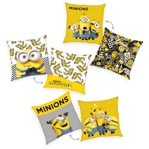 Produktbild Dekokissen 3er-set Minions 2 gelb grau Kissen Vorderseite Rückseite