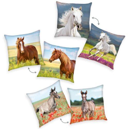 Produktbild Dekokissen 3er-set Pferd Mehrfarbig Kissen Vorderseite Rückseite