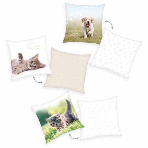 Produktbild Deko Kissen 3er-set Tier Baby Hund Katze Welpe Kätzchen Mehrfarbig Kissen Vorderseite Rückseite