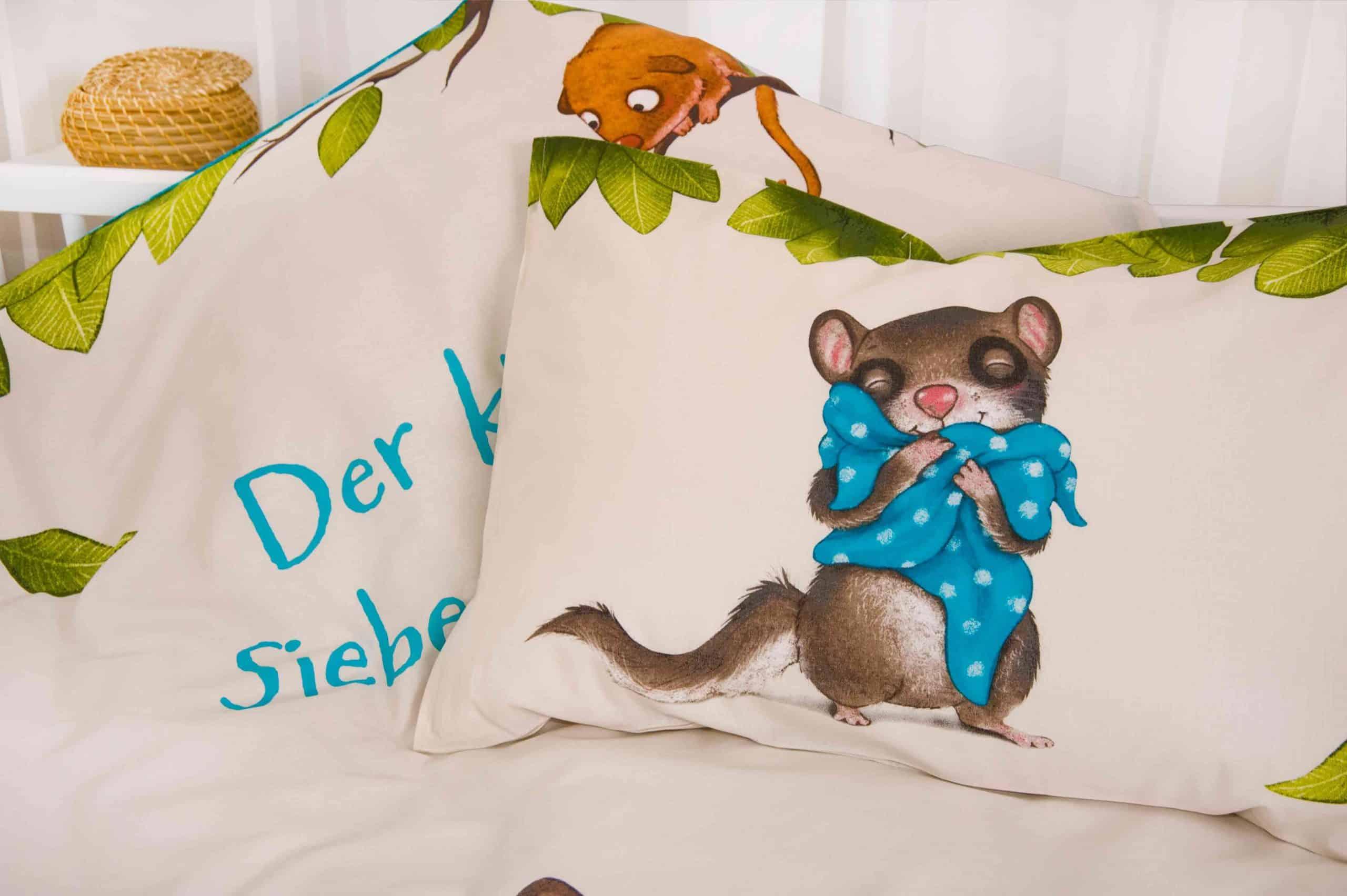 Produktbild Babybettwäsche der kleine Siebenschläfer Kissen Rückseite und Decke
