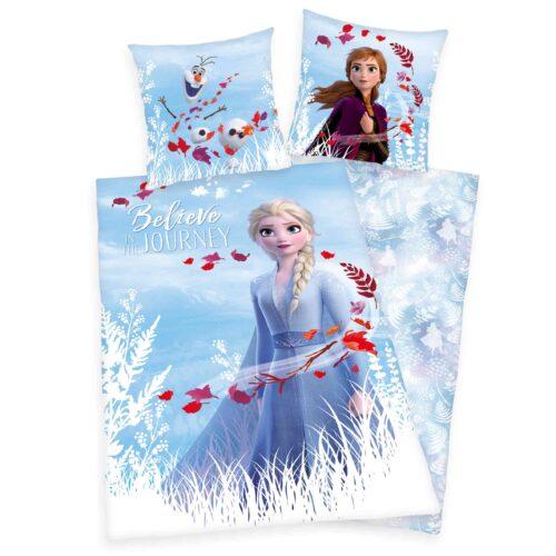 Produktbild Bettwäsche Disney Die Eiskönigin 2 weiß blau rot Bettwäsche Vorderseite Rückseite