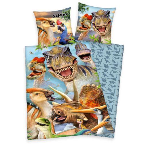 Produktbild Bettwäsche Dinosaurier Selfies Mehrfarbig Bettwäsche Vorderseite Rückseite