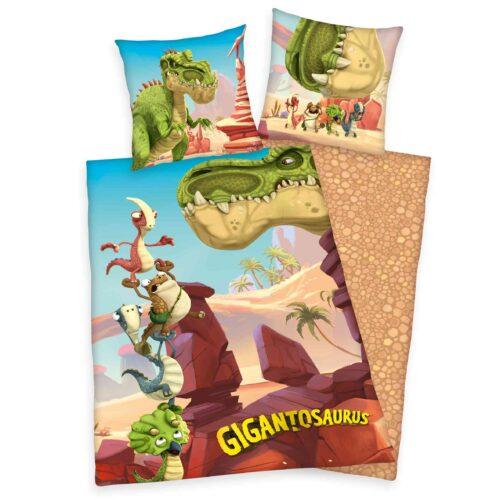 Produktbild Bettwäsche Dinosaurier Gigantosaurus Mehrfarbig Bettwäsche Vorderseite Rückseite