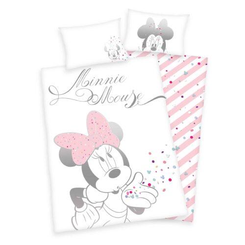 Produktbild Babybettwäsche Disney Minnie Mouse weiß rosa Bettwäsche Vorderseite Rückseite