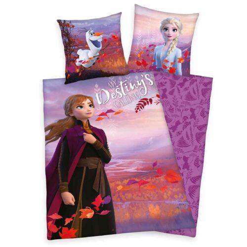 Produktbild Bettwäsche Disney Die Eiskönigin 2 rot lila Bettwäsche Vorderseite Rückseite