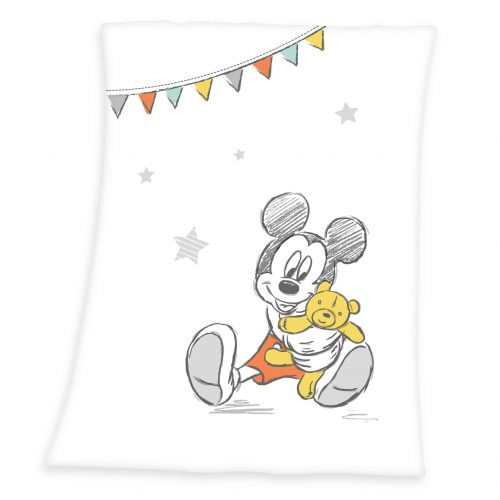Produktbild Kuscheldecke Disney Mickey Mouse weiß schwarz gelb Kuscheldecke Vorderseite