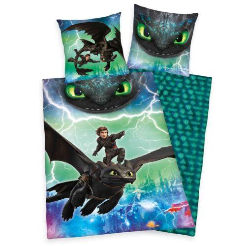 Produktbild Bettwäsche Dragons grün schwarz Bettwäsche Vorderseite Rückseite
