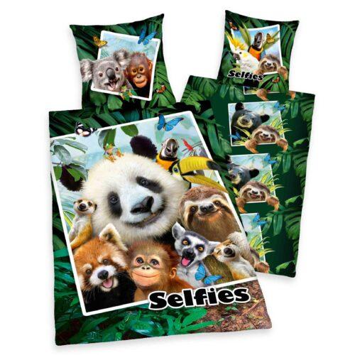 Produktbild Bettwäsche dschungel jungle selfies Mehrfarbig Bettwäsche Vorderseite Rückseite