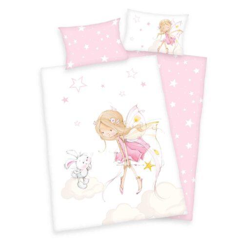 Produktbild Babybettwäsche little Fairy weiß pink Bettwäsche Vorderseite Rückseite
