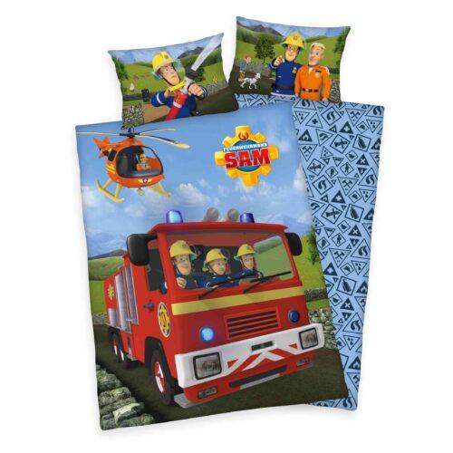 Produktbild Babybettwäsche Feuerwehrmann Sam Mehrfarbig Bettwäsche Vorderseite Rückseite