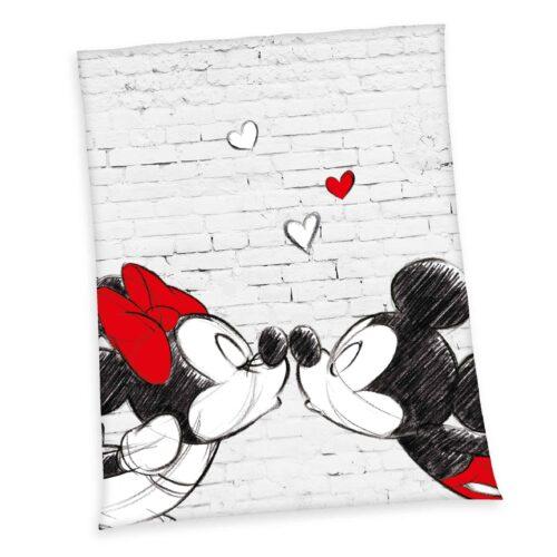 Produktbild Partner Flauschdecke Disney Mickey Minnie Mouse grau rot Decke Vorderseite