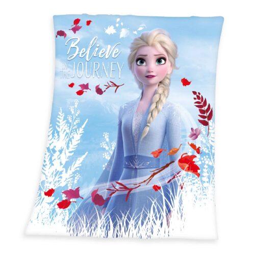 Produktbild Fleece Decke Disney Die Eiskönigin 2 weiß blau rot Decke Vorderseite