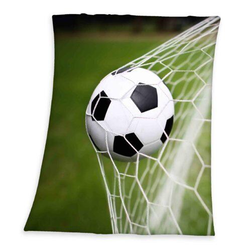 Produktbild Fleece Decke Fußball grün Fleece Decke Vorderseite