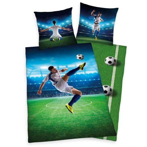 Produktbild Bettwäsche Fußball Fallrückzieher grün blau Bettwäsche Vorderseite Rückseite