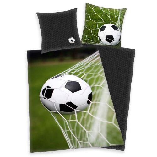 Produktbild Bettwäsche Fußball Tor grün schwarz Bettwäsche Vorderseite Rückseite