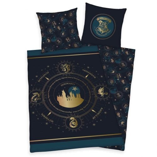 Produktbild Bettwäsche Harry Potter dunkelblau Gold Bettwäsche Vorderseite Rückseite