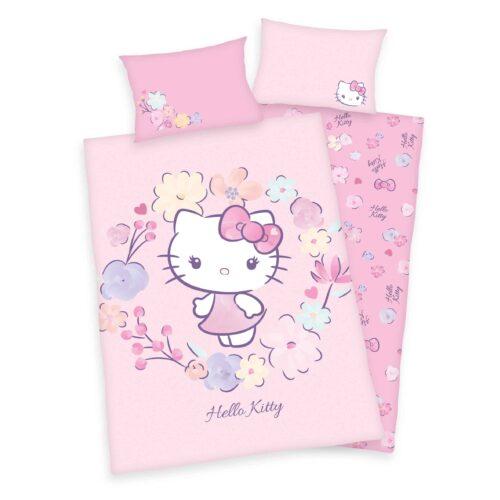 Produktbild Babybettwäsche Hello Kitty rosa Bettwäsche Vorderseite Rückseite