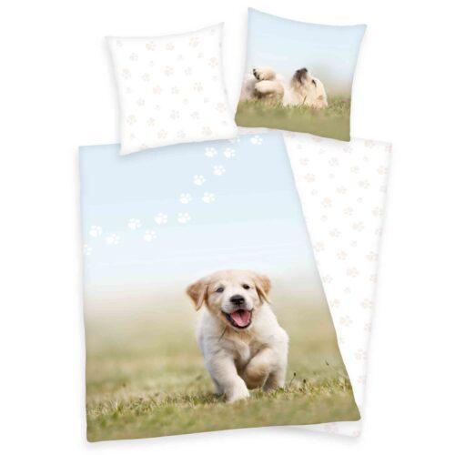 Produktbild Bettwäsche Hunde Welpen weiß grün Bettwäsche Vorderseite Rückseite