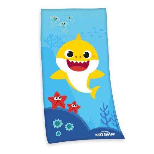 Produktbild Kinderhandtuch Baby Shark blau gelb Handtuch Vorderseite