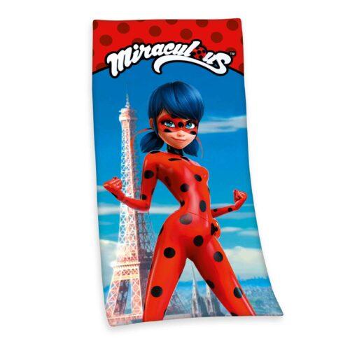 Produktbild Kinderhandtuch Miracolous rot blau Handtuch Vorderseite