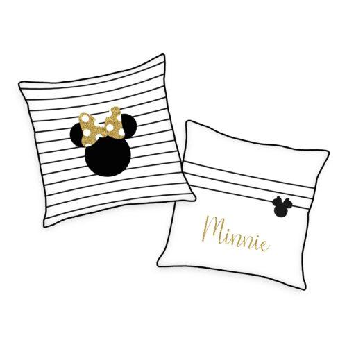 Produktbild Kissen Disney Minnie Mouse weiß schwarz Gold Kissen Vorderseite Rückseite