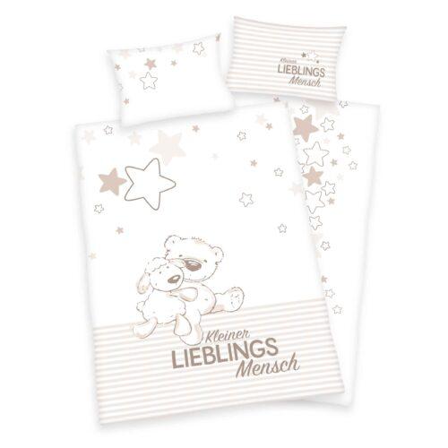 Produktbild Babybettwäsche kleiner Lieblingsmensch beige weiß Bettwäsche Vorderseite Rückseite