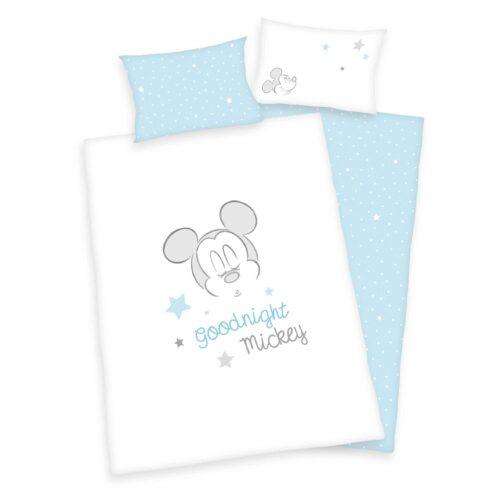 Produktbild Babybettwäsche Mickey Mouse blau weiß Bettwäsche Vorderseite Rückseite
