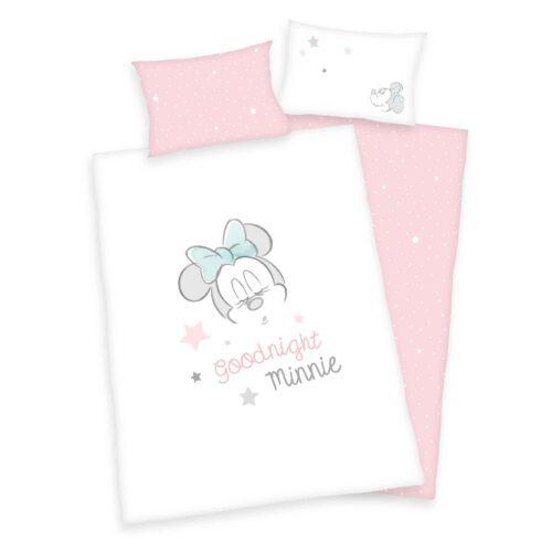 Produktbild Babybettwäsche Minnie Mouse rosa weiß Bettwäsche Vorderseite Rückseite
