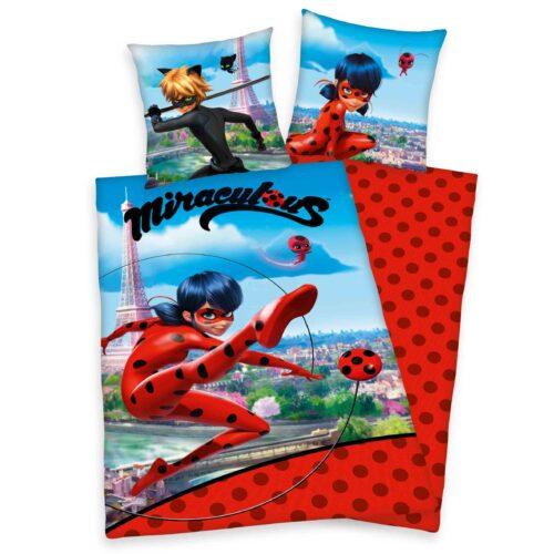 Produktbild Kinderbettwäsche Miracolous blau rot Bettwäsche Vorderseite Rückseite